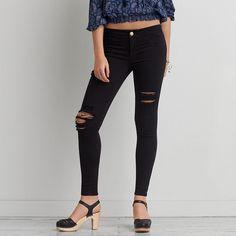American Eagle Sateen X Extreme Legging ($50) ❤ liked on Polyvore featuring pants, leggings, jeans, vintage mechanic, long black pants, long leggings, distressed leggings, skinny pants and ripped pants