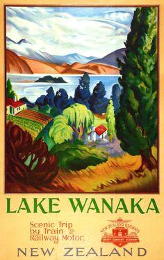 Lake Wanaka ~ scenic trip by train & railway motor. New Zealand. New Zealand Railways Publicity Branch. Vintage Travel Posters, Vintage Postcards, Posters Australia, Pub Vintage, Lake Wanaka, Tourism Poster, Nz Art, Railway Posters, Train Posters