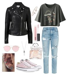 """""""outfit"""" by kwharmony on Polyvore featuring GRLFRND, Witchery, Converse, LMNT, MAC Cosmetics, Guerlain, Marc Jacobs and Barque"""