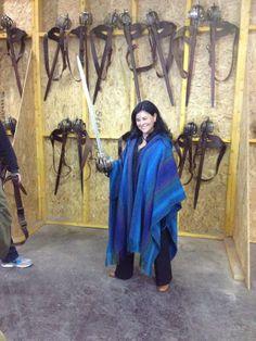 Diana on the set of Outlander