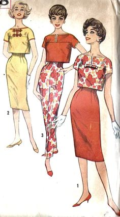 1950s Misses' Overblouse Skirt & Pants