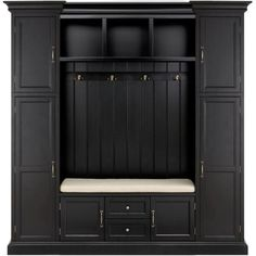 With durable finish, this Home Decorators Collection Royce Solid Black Hall Tree adds style to your entryway or mudroom. Entryway Storage Cabinet, Mudroom Cabinets, Mudroom Laundry Room, Cubby Storage, Locker Storage, Mud Room Lockers, Mudroom Storage Ideas, Cubby Bench, Mudroom Cubbies