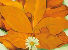 Georgia O'Keeffe Yellow Hickory Leaves with Daisy 1928