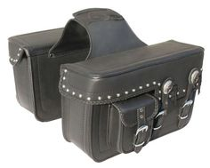 Oxide Black Studded Motorcycle, Motorbike Panniers, Pair Leather Saddle Bags.... Extra little pocket is good