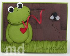 Stampin' Up! punch art bobble-head Frog card by Monika Davis