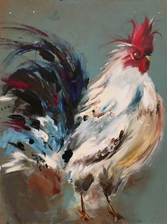 Original Rooster Painting on a Wood Panel Farm Kitchen Art