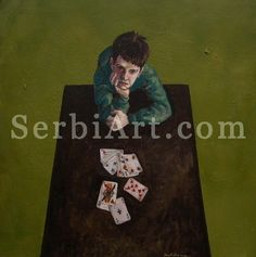 Ivan Kocic, oil painting, artwork from Serbia,  Little gambler, 2008        Oil painting