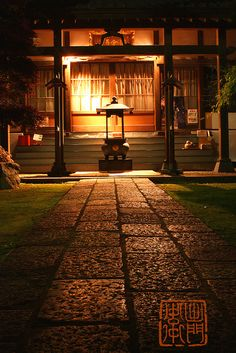 Temple path at night by Damon Bay, via Flickr
