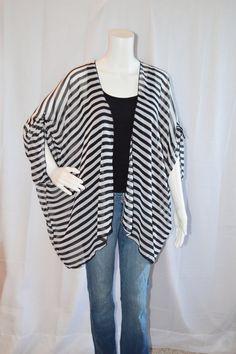 Striped Kimono Cardigan/ Modern Kimono Jacket/ by JessMDesigns