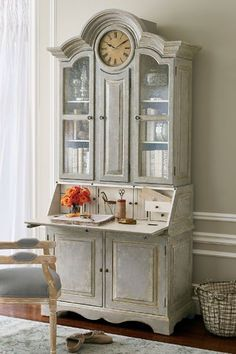 Selma Secretary - Antique Secretary With Clock, Antique Secretary Hutch | Soft…