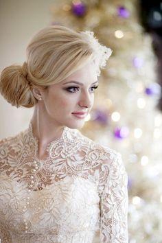 image of Ivory Long Sleeved Lace Wedding Dress  ♥ Winter Wedding Dresses