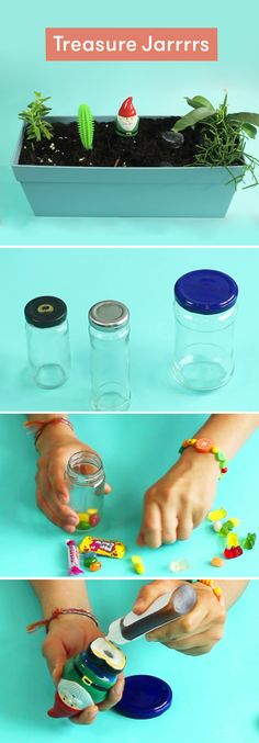 This craft idea will upcycle old jars into pirate storage. It works with any jar or plastic container with a screw-on top. Get your little ones to pick their treasure, and then pick a guardian to disguise the top. When you bury it in a planter or garden, the treasure is hidden safe underneath. Shiver me timbers!