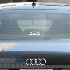 Delta Delta Delta Sorority Car Window Sticker #Greek #Sorority #Accessories #Sticker #CarSticker #DeltaDeltaDelta #TriDelta