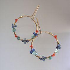 Gemstone Gold Filled Hoops Apatite Earrings by bellajewelsII