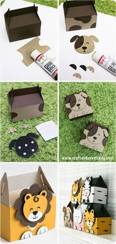 Cajas animales para cumpleaños Kalasaskar med djurmotiv – Animal party boxes created with the Silhouette CAMEO Cajas Silhouette Cameo, Silhouette Curio, Silhouette Cameo Projects, Origami, Creative Box, Jungle Party, Party In A Box, Diy Party Boxes, Diy Box