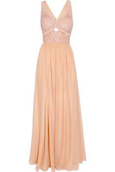 ...O M G....MYYY  PEACH  GOWN....I FREAKIN  LOVE  THISSSS....!!!!!    Rachel Gilbert Cinita sequined silk-chiffon gown