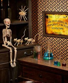 Set a spooky scene for trick-or-treaters or everyday fun with this Halloween Curiosities Collection. The 6-Pc. Chemistry Shot Glass Set and 9-Pc. Chemistry Bar Set turn you into a mad scientist mixing potions. Set a creepy scene with the Set of 3 Mini Sk
