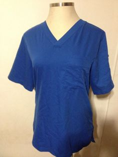 GREYS ANATOMY Scrub Top Shirt Royal Blue Medium 2 Breast Pockets V-Neck  #GreysAnatomy #vneck #scrubs #scrubtop #scrubshirt #royalblue