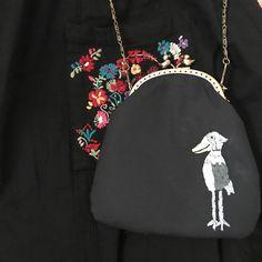 発送しました #creema #shoebill  #がま口 #embroidery #porch #purse  #handmade #pandafactory #刺繍 #ハシビロコウ