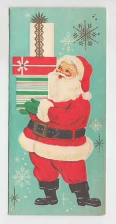 Vintage Embossed Santa Clause With Stack Of Gifts Christmas Greeting Card