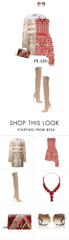 """Check It: Plaid"" by fashionbrownies ❤ liked on Polyvore featuring Yves Salomon, Simone Rocha, Gianni Renzi, Valentino, Gucci, Dita, Clover Canyon, plaid and polyvoreeditorial"