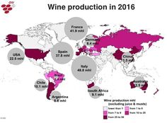 Wine production in 2016 according to the OIV