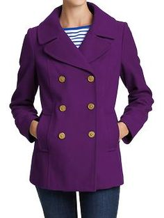 Women's Classic Wool-Blend Coats PURPLE!!! I don't like the gold buttons, but I could replace those.