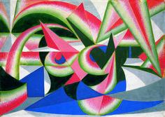 Balla the futurist abstractionist, by Andrea Tinterri   Giacomo Balla, Forze di paesaggio + cocomero, 1917-1918, tempera on paper
