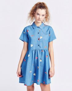 Lazy Oaf Old School Emb Dress - Clothing - NEW IN - Womens