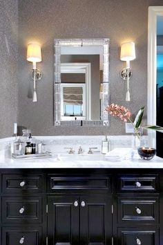 Pin for Later: Bathroom cabinets modern. Love dark/black cabinets in bathrooms. And all other rooms in my house! Discover more check this link. Love dark/black cabinets in bathrooms. And all other rooms in my house! Black Cabinets Bathroom, Silver Bathroom, Dark Cabinets, Small Bathroom, Master Bathroom, Black Vanity Bathroom, Bathroom Wall, Bathroom Storage, Bathroom Lighting