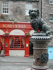 """Bobby's Bar, Scotland  his headstone reads:  """"Greyfriars Bobby - died 14th January 1872 - aged 16 years.   Let his loyalty and devotion be a lesson to us all""""  (click to get the entire heartwarming story)"""