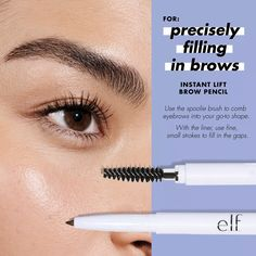 Our customer favorite Instant Lift Brow Pencil has a fine tip liner and built-in eyebrow brush. Fill In Brows, Filling In Eyebrows, Eyebrow Filling, Eyebrow Lift, Eyebrow Brush, Medium Brown Hair, Light Brown Hair, Best Eyebrow Pencils