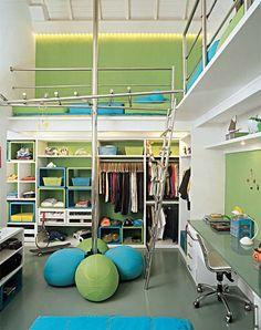 Habitación para dos decorada en colores Verde Manzana y Turquesa