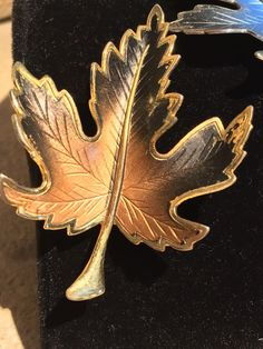 Lot of 2 Vintage Fall Two Tone Enamel Leaf Brooches / Pins Figural Autumn Brooch