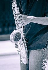 Saxophone Featured Images - Saxophone Player on Street  by Carolyn Marshall