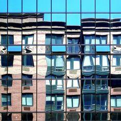 Window reflection by tanakawho, via Flickr  | #warm #cool #blue #tan #orange #turquoise