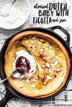 This Almond Dutch Baby with Ricotta and Jam is an easy way to dress up a lazy weekend brunch at home. Customize the add-ins and toppings to fit your mood! Brunch Recipes, Baby Food Recipes, Breakfast Recipes, Cooking Recipes, Amish Recipes, Jam Recipes, Breakfast Ideas, Sweet Breakfast, Baby Pancakes