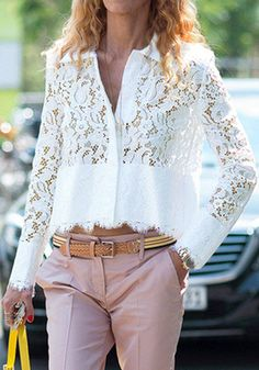 Refreshing White Hollow Out Lace Spliced Short Shirt For Women Diy Couture, Couture Tops, Zara Tops, White Long Sleeve, Long Sleeve Tops, Shirt Collar Pattern, Mode Chic, Short Shirts, Stylish Tops