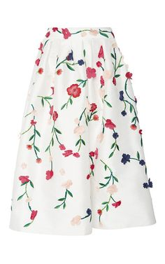 Floral Embroidered Evening Skirt by Monique Lhuillier for Preorder on Moda Operandi