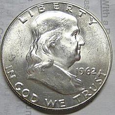 1962 Franklin Half Dollar - Choice Bu To Near Gem Bu - White Coins Half Dollar, Coins, Gems, Antiques, Antiquities, Antique, Rooms, Rhinestones, Jewels