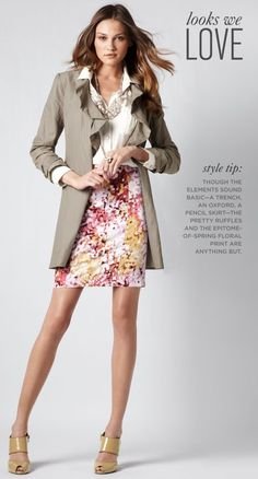 So chic with classic neutral trench, white button down, and vibrant floral pencil skirt with statement necklace.