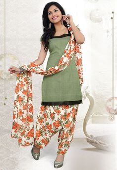 Get a stylish update when you wear this #Green-Off white Color Cotton Designer Patiala #SalwarKameez which is accompanied with a matching dupatta and bottom. The suit features a zig zag print along with lace embellished yoke and border.