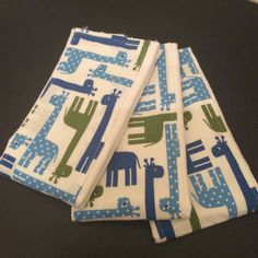 Personalized blue and green giraffe cloth by GoodnessGrayson