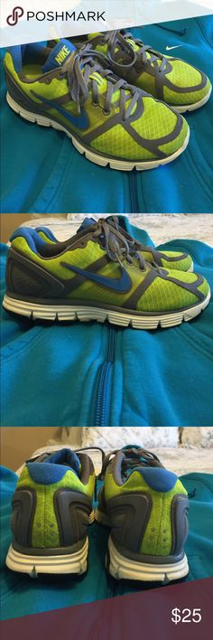 Green/Gray/Blue Nike Shoes In like new condition! These were only worn when they matched my Zumba attire! Could be thrown in the washer for an even newer look! These have great support. Feel free to ask questions! I can create a listing for the matching hoodie if desired. Check out my other listings! Nike Shoes Athletic Shoes