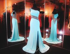 Aqua Beaded One Shoulder Jersey Prom Dress-Illusion Back and Waistline-High Slit-115BP097800399 - Rsvp BP - Long Gown - Rsvp Prom and Pageant - 4
