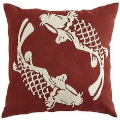 Pier 1's Embroidered Koi Fish Pillow is tough enough for outdoor use, but it's soft enough for the bedroom, too.