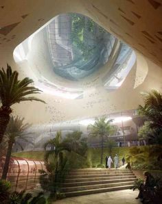 Riyadh Metro Station Snøhetta Qasr Al Hokm Downtown Metro Station is one of the most luxurious and intelligent designs we have seen for public spaces Th - architecture Architecture Design, Architecture Visualization, Green Architecture, Organic Architecture, Futuristic Architecture, Amazing Architecture, Landscape Architecture, Architecture Drawings, Riad