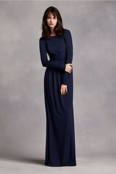 A fancier wedding doesn't have to break the bank. Consider this simple, conservative dress as an option for your long bridesmaid dresses.