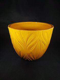 Swirl Pottery Bowl 12  Signed black swirl wavy edge bowl Studio Art Pottery Bowl  Decorative Black Yellow Swirl Art Bowl