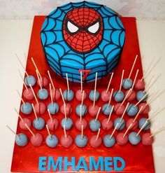 Emhamed's spiderman-Cake and cakepops  - _e.s.e_